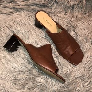 Vtg 90s UO brown leather mule shoes 11
